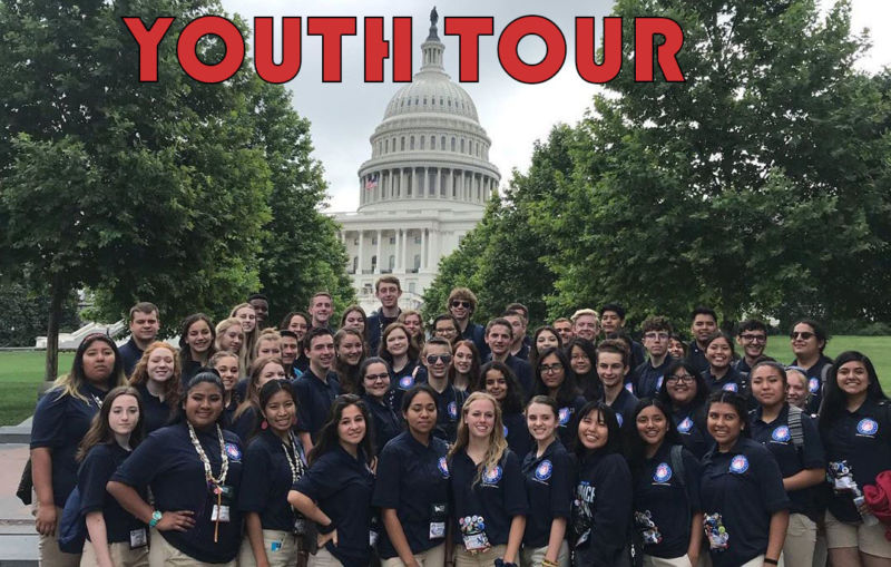 Electric Cooperative Youth tour participants. Text: Youth Tour