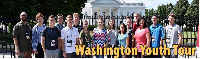 Electric Cooperative Youth tour participants. Text: Washington Youth Tour